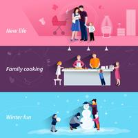 Parenthood 3 flat horizontal banners set