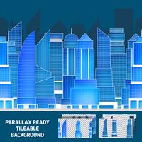 Modern night cityscape tileable parallax background  vector