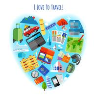 Love to travel concept icon poster