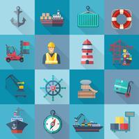 Set di icone del porto marittimo
