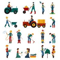 Gardening People Flat Set vector