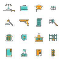 Conjunto de ícones de linha de julgamento