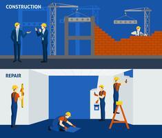 Byggnadsbyggande reparation platt horisontella banderoller
