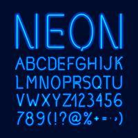 Alfabeto de neón resplandor