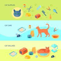 Conjunto de banners planos horizontales de gatos 3