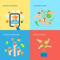 Ge händer 4 platta ikoner kvadratiska banner