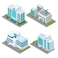 Hospital Isometric Icons Set vector