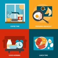 Breakfast and lunch icons set