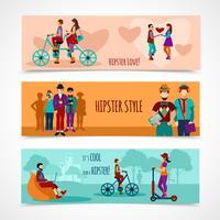 Conjunto de Banner plana de pessoas hipster