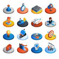 Iconos isométricos de la estrategia empresarial