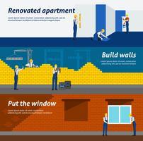 Insegne orizzontali piane della costruzione di appartamento messe