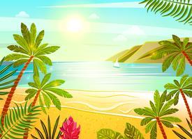 Tropische zee strand vlakke poster afdrukken