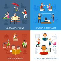 People Reading Set vector