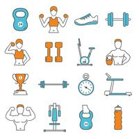 Fitness Flat Color Line Icons Set