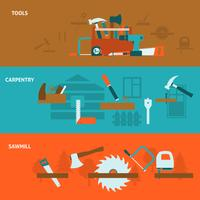 Carpentry tools flat banners set