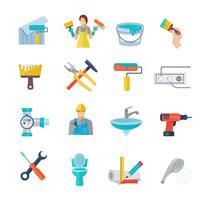 Ensemble plat d'icônes de réparation à la maison