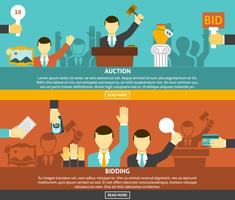 Auction And Bidding Banners Set  vector
