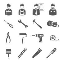 Byggarbetare verktyg svarta ikoner uppsättning