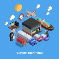 Shipping And Storage Isometric Concept