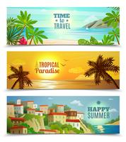 Travel agency tropical paradise vacation banners set