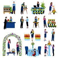 Floristas, organizando o conjunto de ícones plana de flores