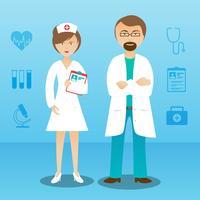 Medicina médico hombre mujer personaje banner