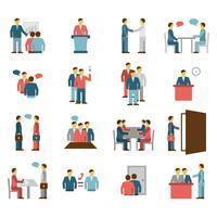 Reunião, pessoas, apartamento, cor, ícones