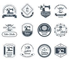 Tailor shop black labels icons set vector
