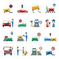 Verkeersovertreding Icons Set