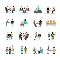 Conjunto de iconos de espacio de coworking