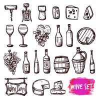 Conjunto de iconos de doodle de vino negro