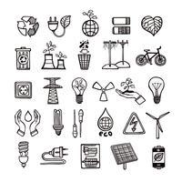 Conjunto de iconos de ecología y energía
