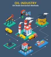 Concepto isométrico de la industria petrolera