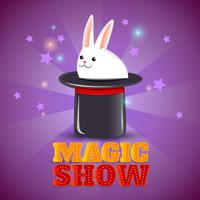 Cartaz de fundo de show de truque de chapéu mágico