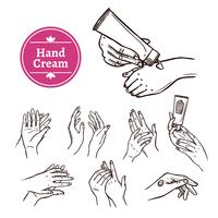 Applying hand cream black  icons set
