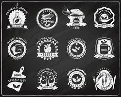 Conjunto de rótulos de giz de quadro-negro de alimentos orgânicos