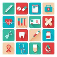 Iconos de medicina establecidos planos