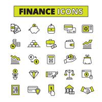 Finance icons set line