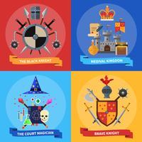 Concepto de caballeros 4 iconos planos cuadrados