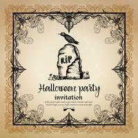 Convite Vintage de Halloween com moldura