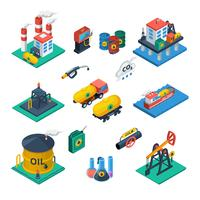 Oil Industry Isometric Icons  Set