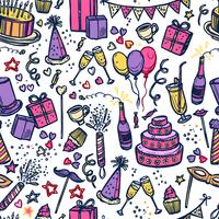 Birthday party time seamless pattern