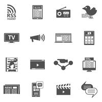 Mass media black icons set