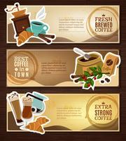 Coffee Vintage Flat Banners Set Brown