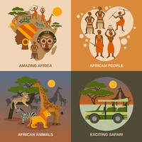 Africa Concept Icons Set  vector