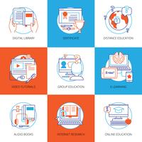 Icons Set On Theme Online Education