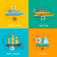Nautical concept 4 flat icons square