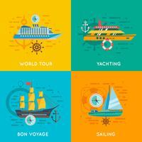 Concept nautique 4 icônes carrées
