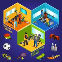 Sports Equipment Athletes Isometric 2x2