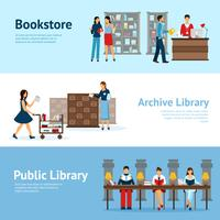 Library Horizontal Banners Set
